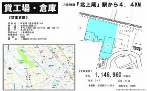 上尾市大字領家1208(北上尾駅)北上尾駅 貸倉庫 一棟貸